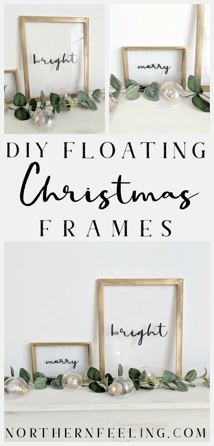 simple framed glass holiday floating sign // northernfeeling.com