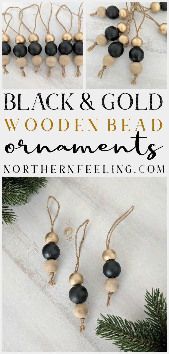 Black & Gold Wooden Bead Ornaments // northernfeeling.com