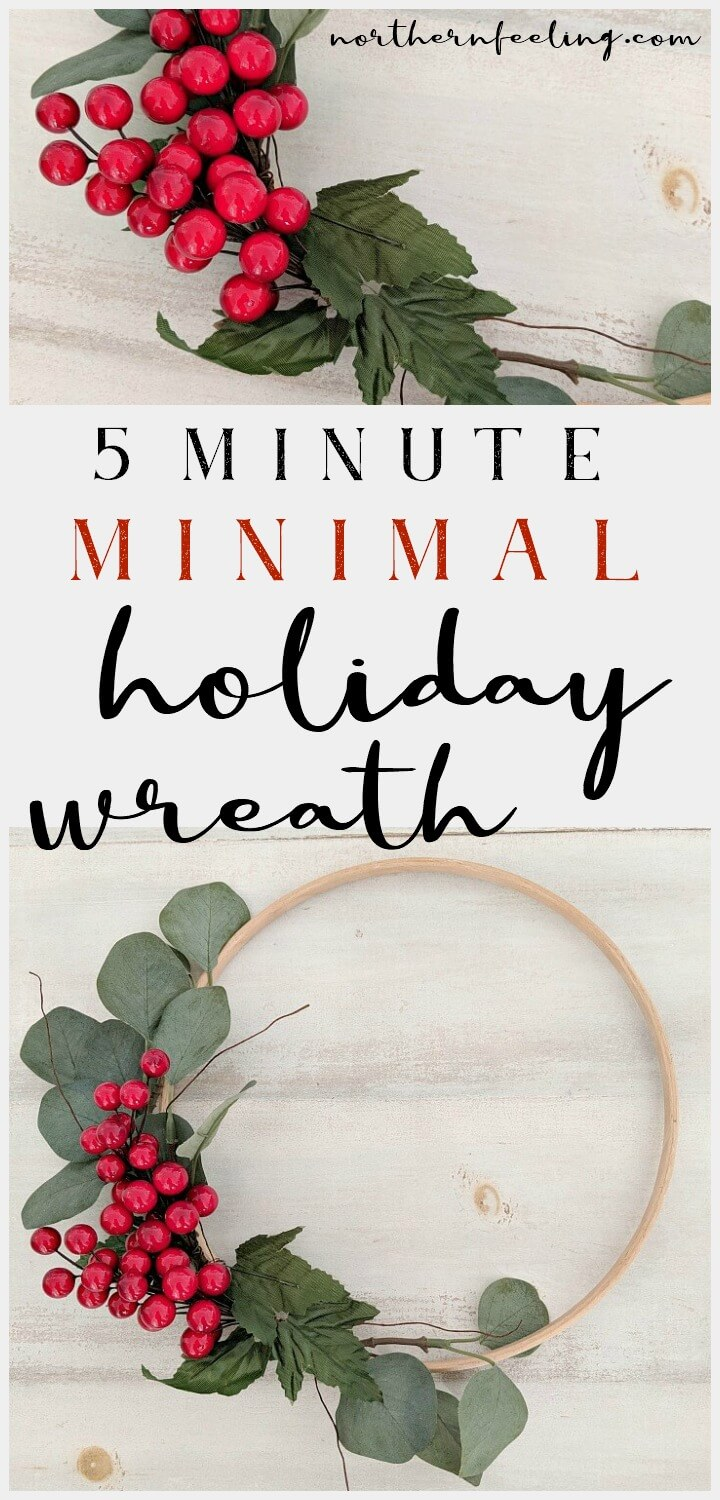5 minute red berry minimal Holiday wreath // northernfeeling.com
