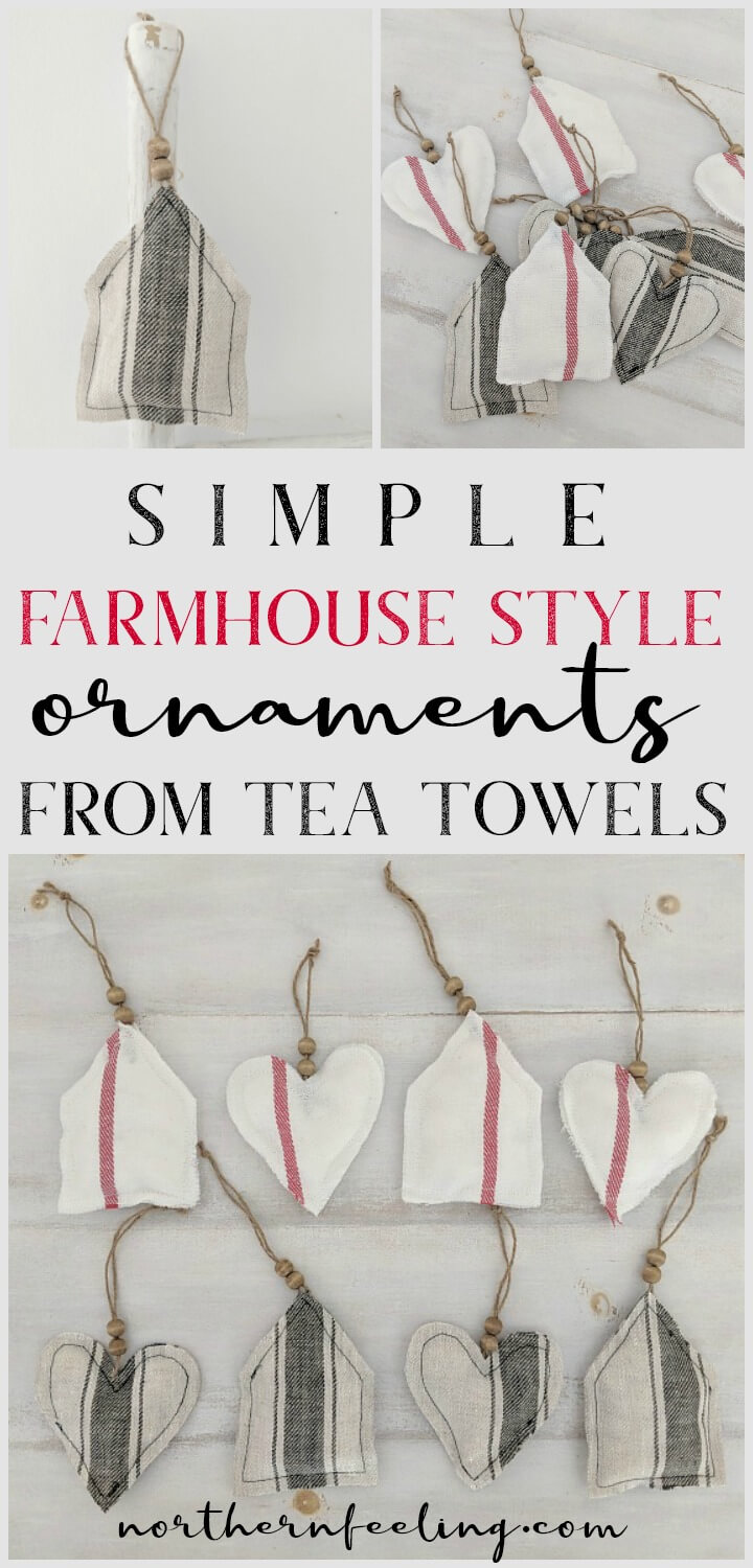 Simple DIY Farmhouse Style Fabric Holiday Ornaments // northernfeeling.com