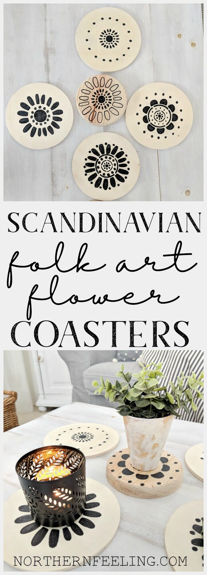 Scandinavian Folk Art Flower Stencil Coasters // northernfeeling.com