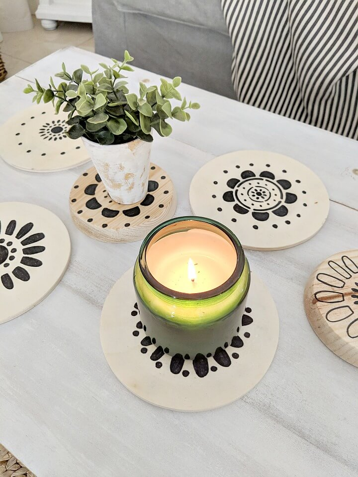 Scandinavian Folk Art Flower Stencil Coasters northernfeeling.com