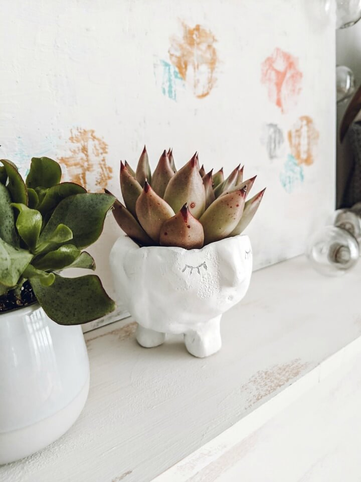 DIY Air Drying Clay Head Planter northernfeeling.com