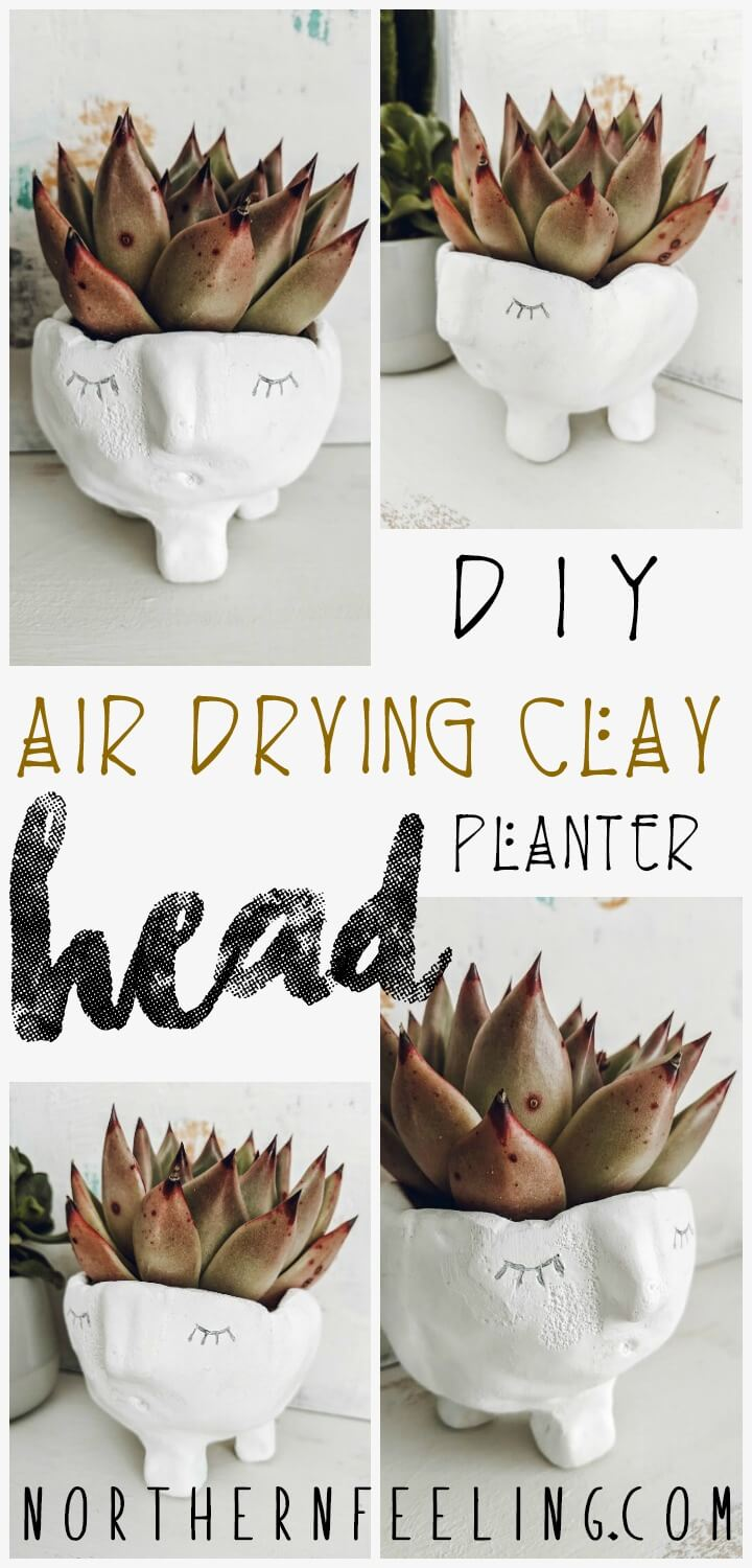 DIY Air Drying Clay Head Planter // northernfeeling.com