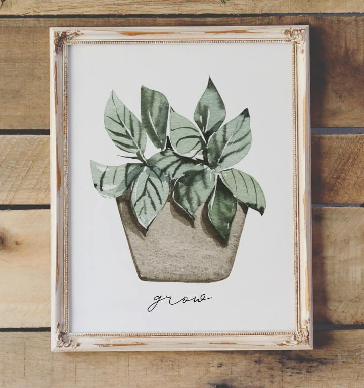 free watercolor potted plants printable northernfeeling.com