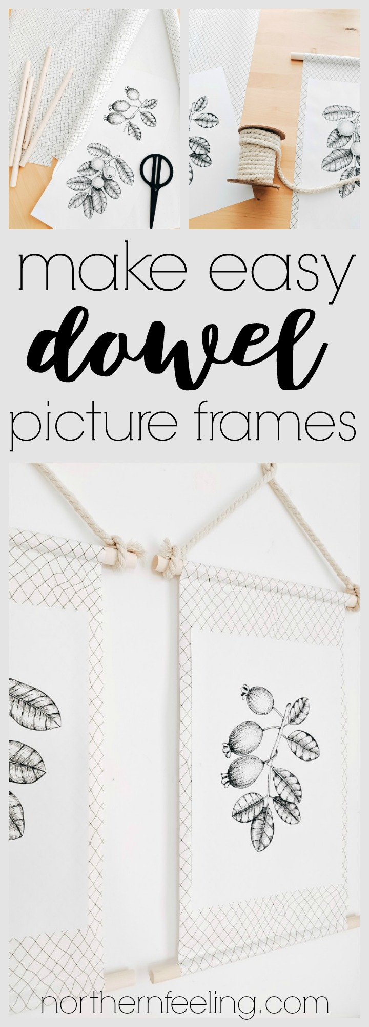 how to make easy dowel picture frames + free printables // northernfeeling.com