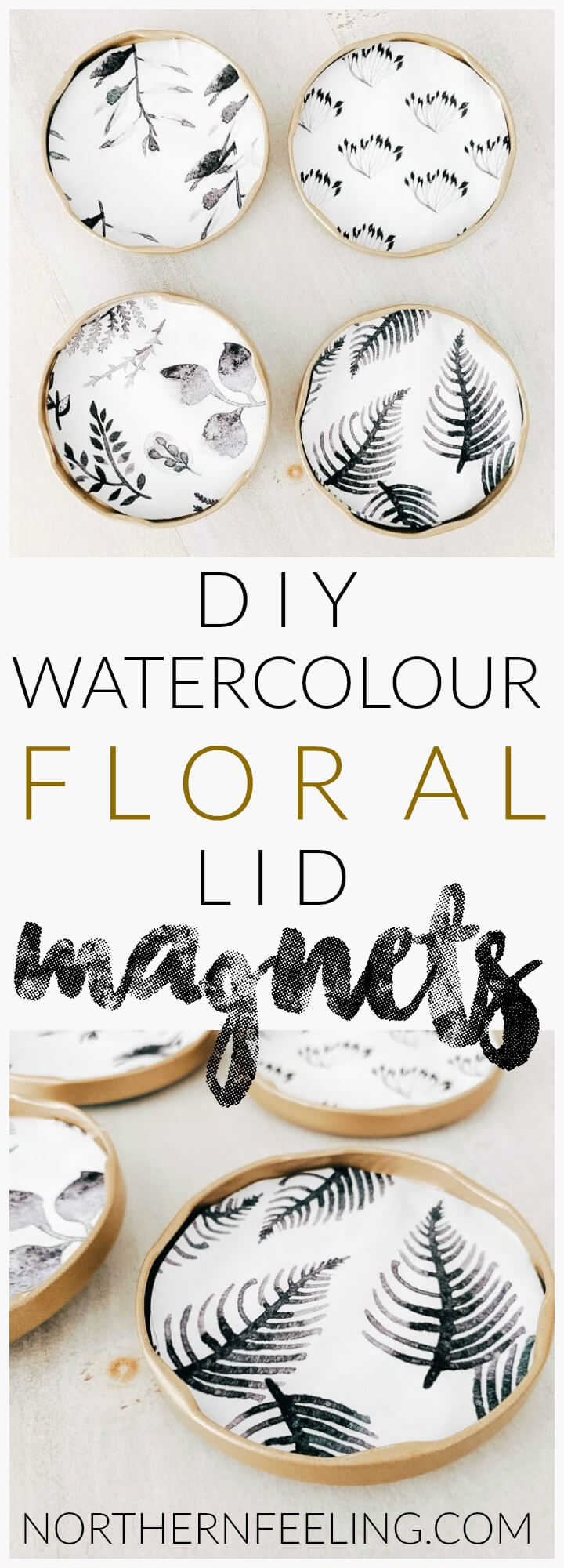 How to make DIY watercolour floral lid magnets // northernfeeling.com