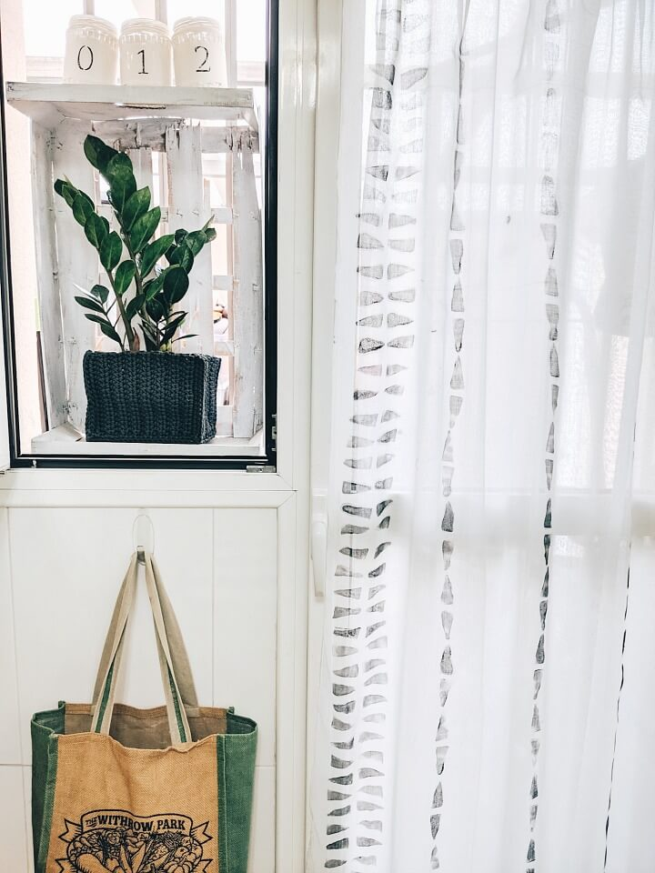 DIY geometric stamped curtains window northernfeeling.com