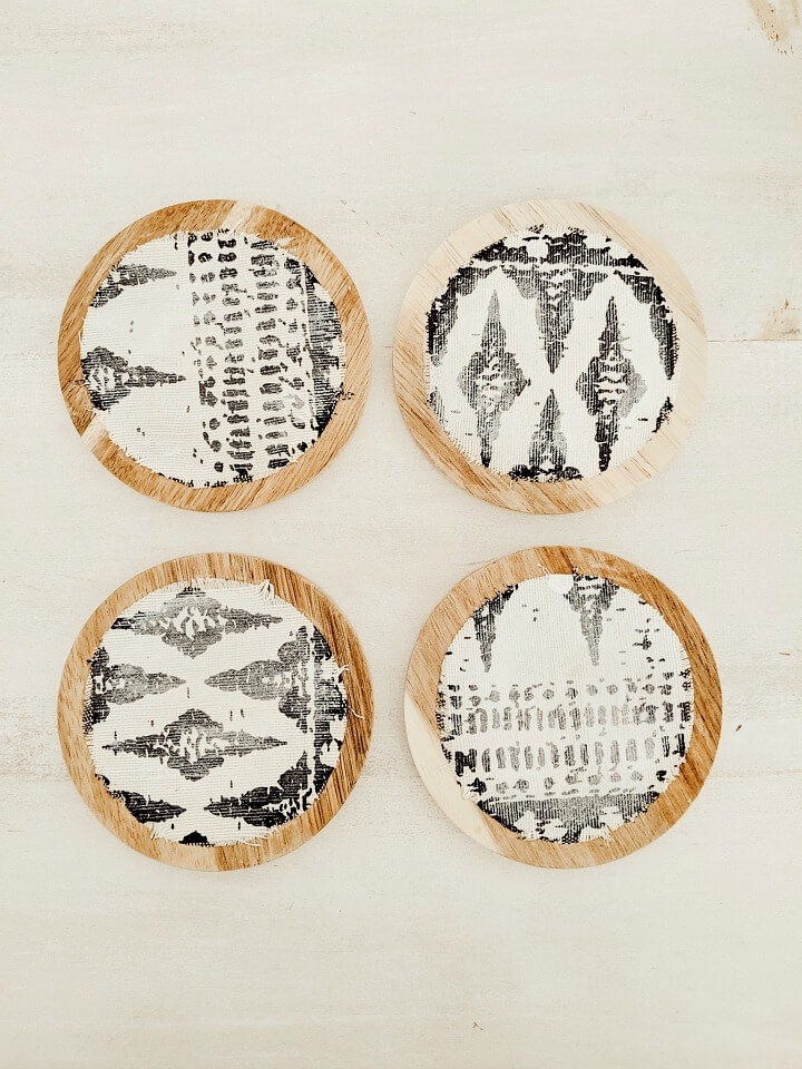 boho style fabric covered wooden coasters northernfeeling.com