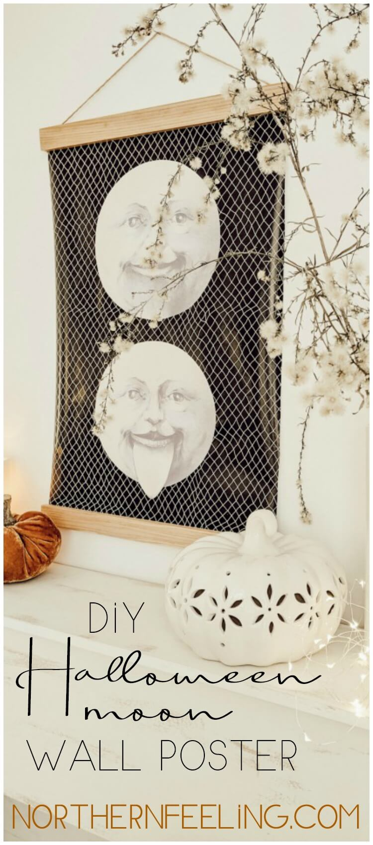 DIY Halloween moon wall poster // northernfeeling.com