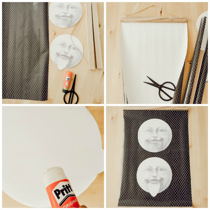 DIY oversized moon wall decor & Halloween mantel (how to poster) northernfeeling.com