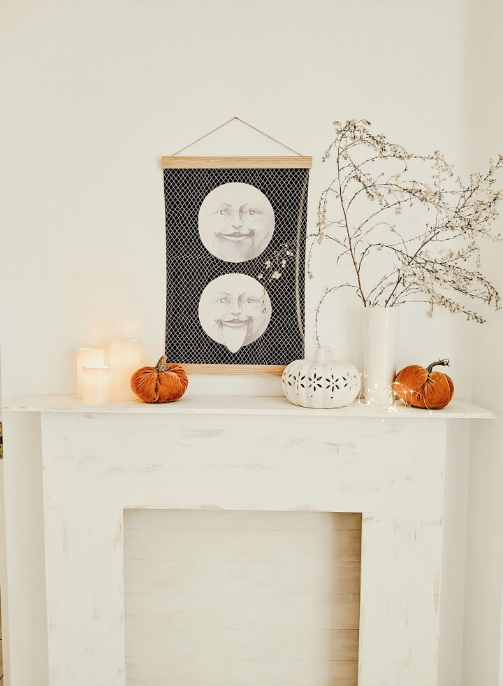 DIY oversized moon wall decor & Halloween mantel northernfeeling.com